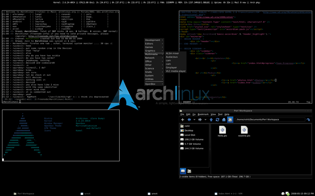 Arch Linux is an independently developed, x86-64 general-purpose GNU/Linux distribution that strives to provide the latest stable versions of most software by following a rolling-release model. The default installation is a minimal base system, configured by the user to only add what is purposely required.